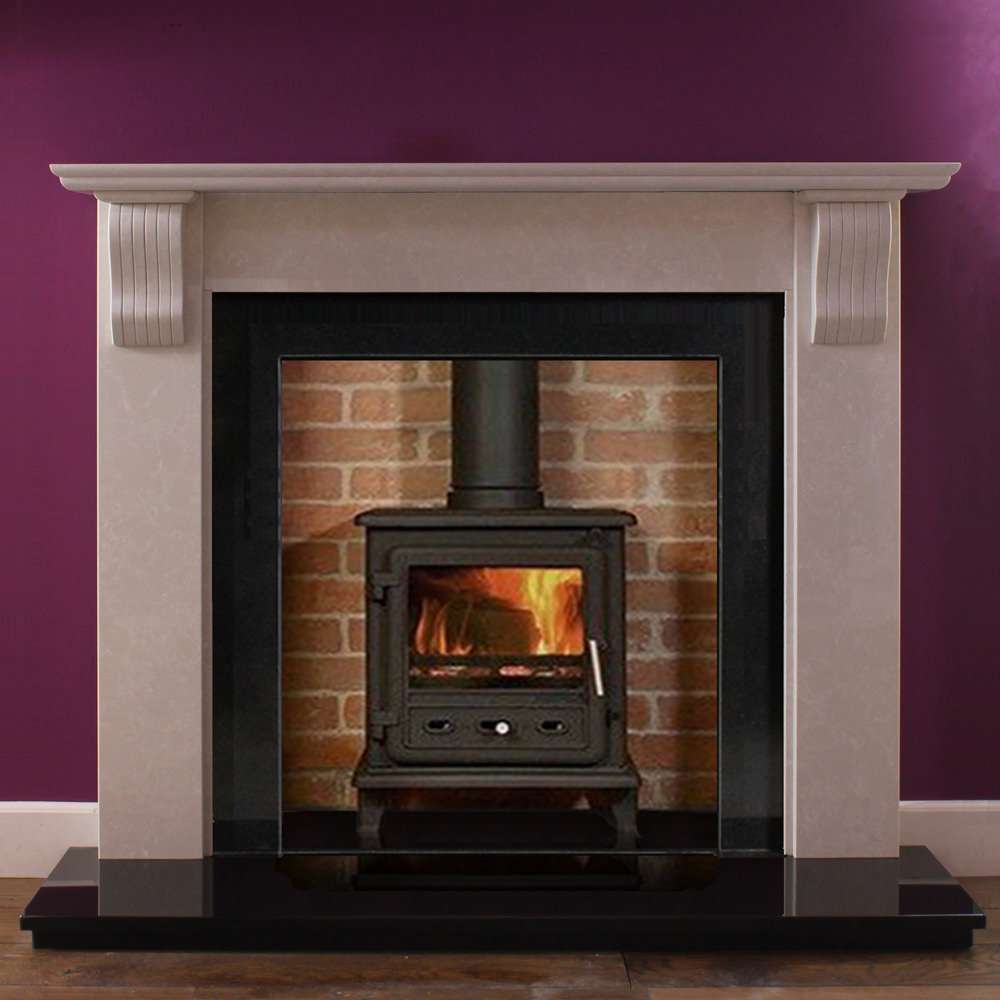 Corbel marble fire surround in an Italian Verona Grey marble shown with a wood burning stove and polished granite slips
