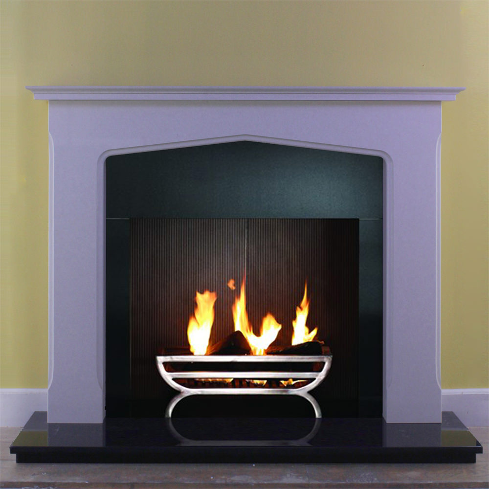 Leamington marble fire surround shown in a Verona Grey marble with a 3 piece granite panel and solid fuel fire