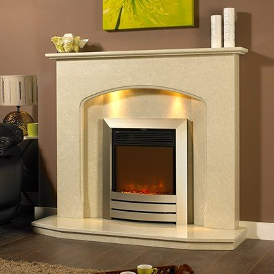 Angelia marble fireplace in a Nacarado marble with a Celsi XD camber electric fire.