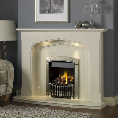 Lydford marble fireplace shown in an Italian Rigel marble with a Flavel Caress contemporary gas fire