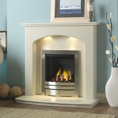 Lincoln marble fireplace in a Rigel marble, shown with a full depth gas fire.