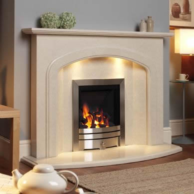 Liberino marble fireplace shown in nacarado with an inset full depth gas fire