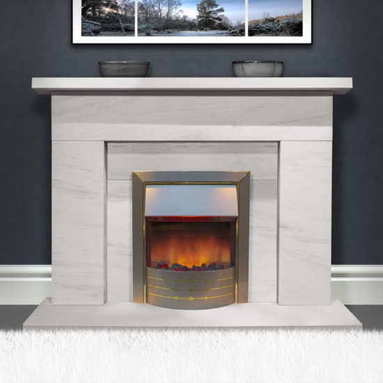 Braga Limestone fireplace shown with an inset electric fire