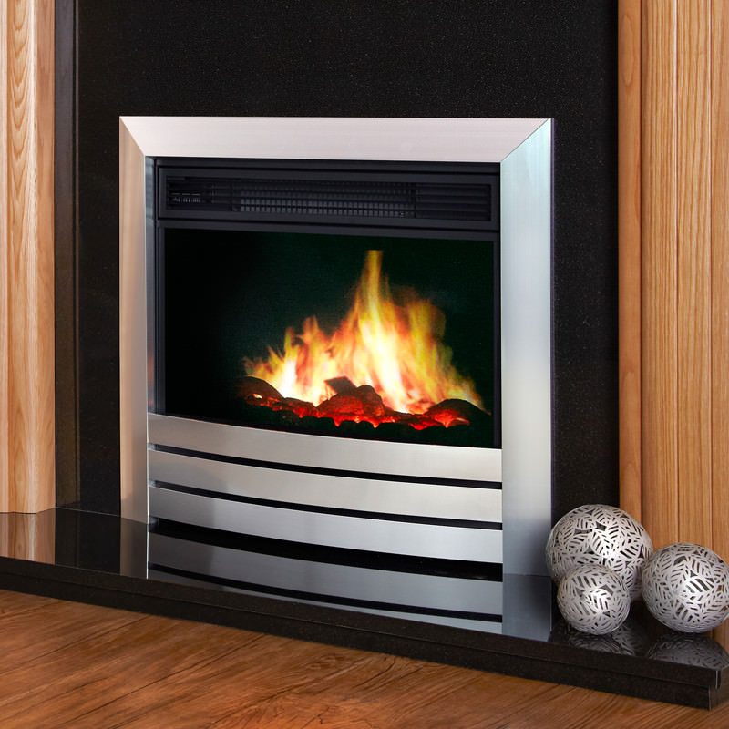 "Celsi Puraflame inset electric fire 22"" inches in width with chrome finish"