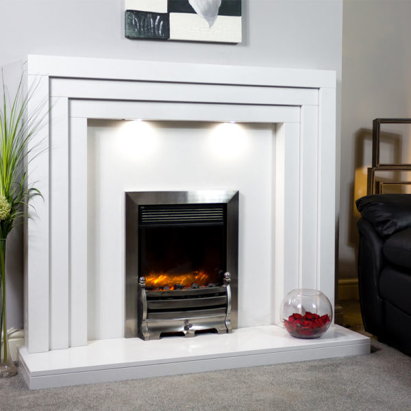 Contemporary marble fireplace shown in a Polare white marble and an inset Celsi XD caress electric fire in chrome