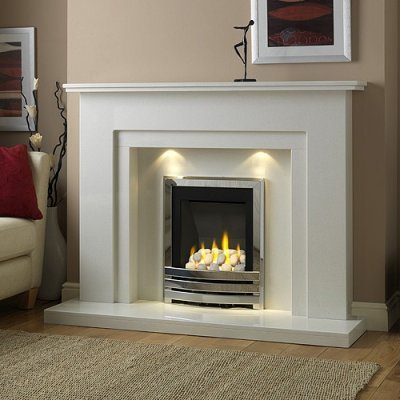 Walton marble fireplace shown in Blanco Micro marble with a Flavel Linear full depth gas fire.