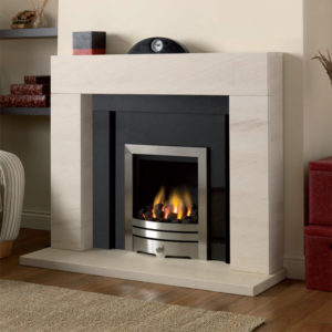 Lagos limestone fireplace with a polished black granite panel and slips shown with an inset gas fire