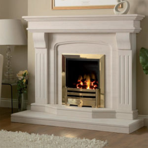 Lisbon limestone fireplace shown in Semi Rijo limestone with an inset full depth gas fire