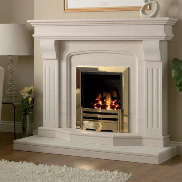 Lisbon limestone fireplace shown in Semi Rijo limestone with an inset full depth gas fire