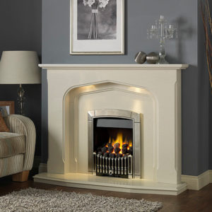 Lynford Marble Fireplace shown with Flavel Caress Contemporary full depth gas fire