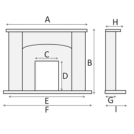 Fireplace diagram. Marble fireplace with a curved header.