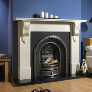 Newbury Grand Corbel marble fireplace shown in Verona Grey marble with a Henley cast iron insert and granite hearth