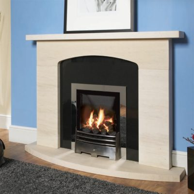 Portimao Limestone fireplace shown wih a granite panel and inset gas fire