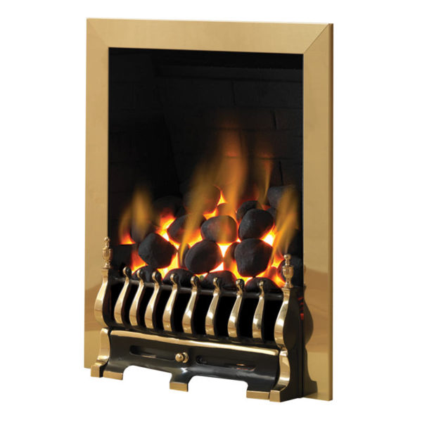 Pureglow Blenheim gas fire in a brass finish and coal fuel bed