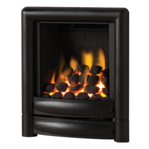 Pureglow Carmen inset gas fire shown in black with a coal fuel bed