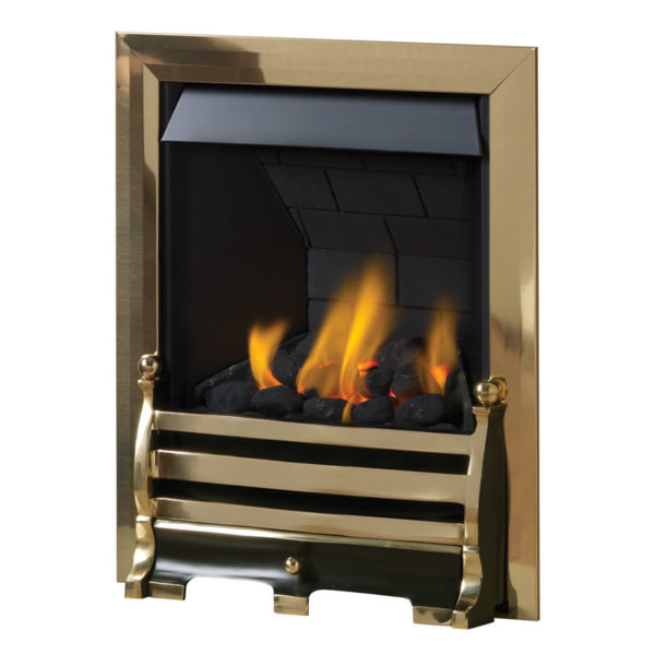 Pureglow Daisy full depth gas fire with coal fuel bed shown in brass