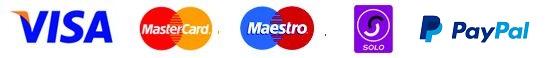 Card payments. Card company logos. Visa, Mastercard, Maestro, Solo, Paypal