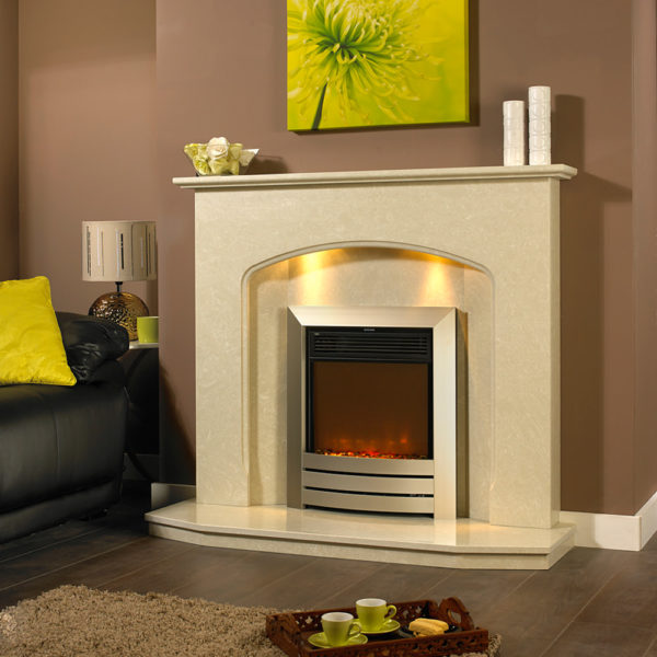 Angelia marble fireplace shown in Nacarado marble with a Celsi XD camber electric fire in Champagne