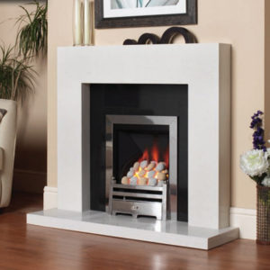 Brancio marble fireplace shown in a Blanco Micro with a polished black granite back panel and slimline Pureglow Bauhaus gas fire