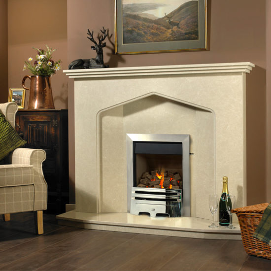 Bromley marble fireplace in a Nacarado marble shown with a Pureglow Grace full depth gas fire