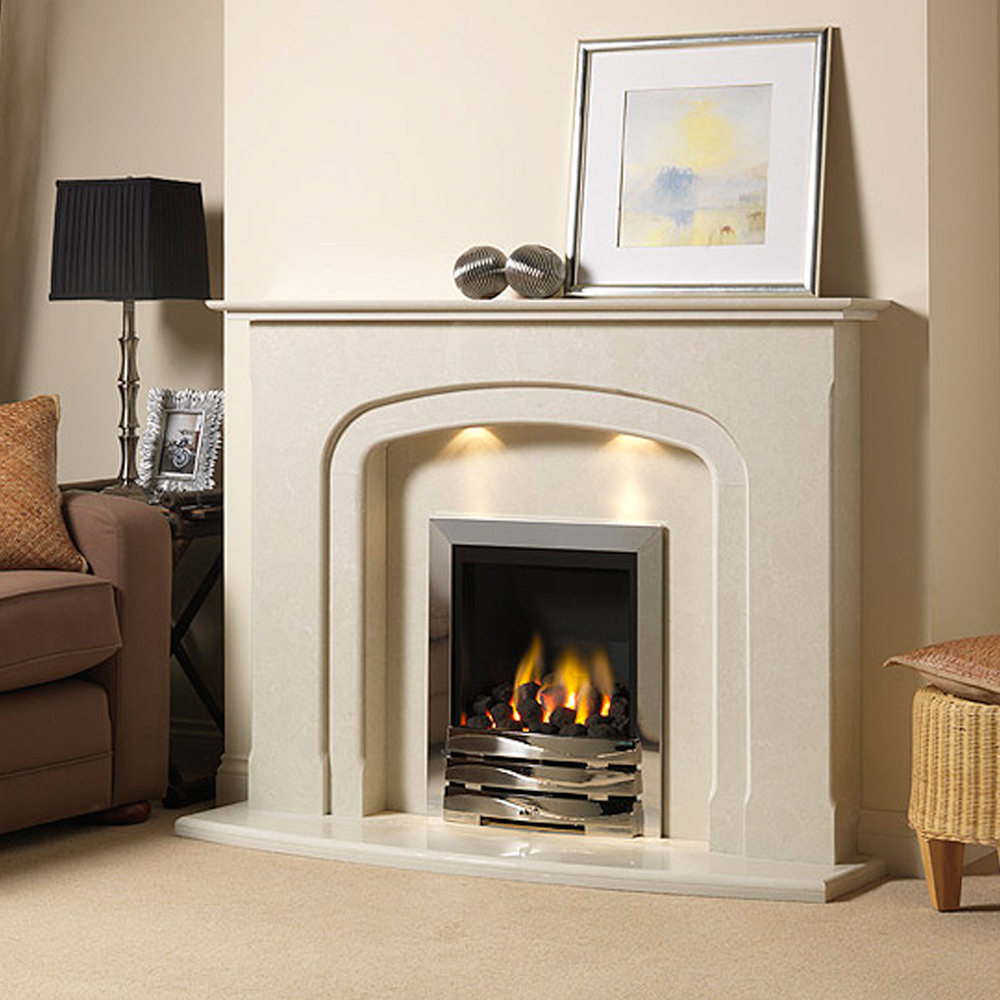 Cambourne marble fireplace shown in a Nacarado marble and an inset full depth gas fire