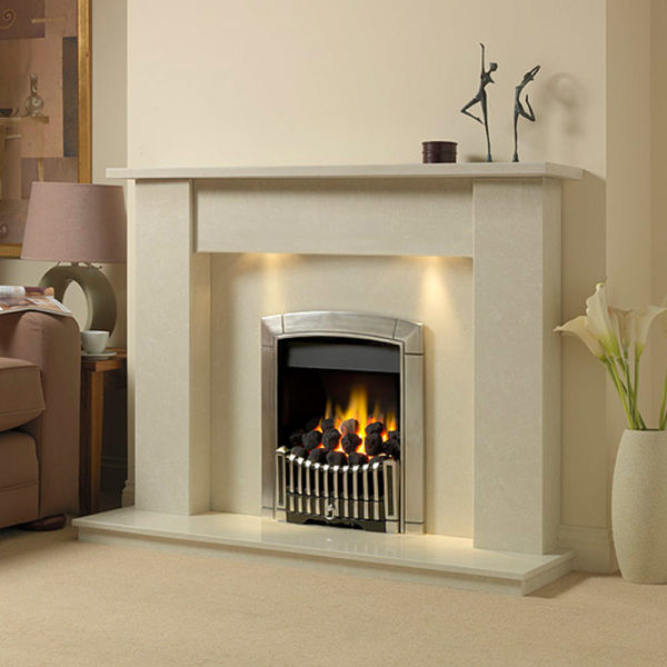 Cambridge marble fireplace in a Nacarado marble with a Flavel Caress Contemporary full depth gas fire