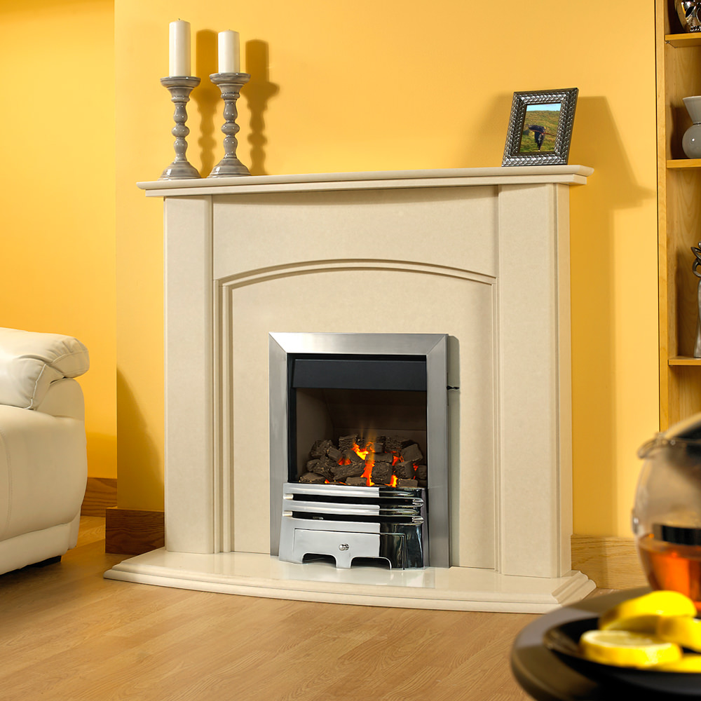 Edinburgh marble fireplace in an Italian Rigel marble. Shown with a Pureglow Grace inset, full depth gas fire in chrome
