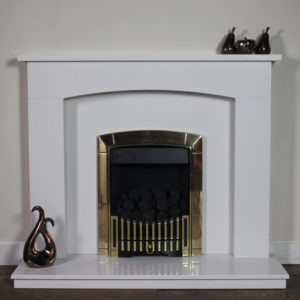 The Elmswood marble fireplace shown in Blanco Micro marble with an inset Flavel Caress Contemporary gas fire shown in brass