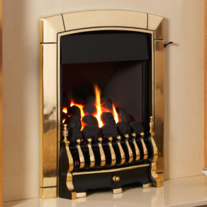 Flavel Caress traditional inset full depth gas fire shown in brass