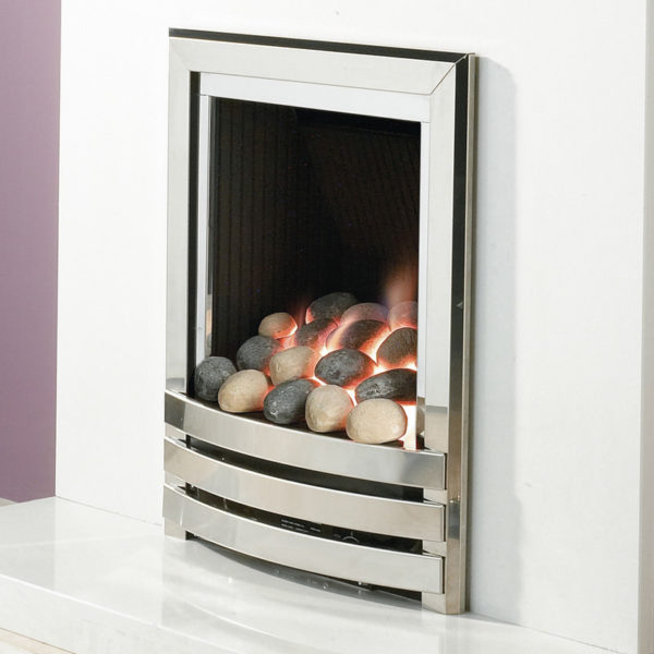 Flavel linear inset gas fire shown in a chrome finish with a pebble fuel bed