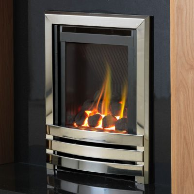 Flavel Linear HE full depth gas fire in chrome