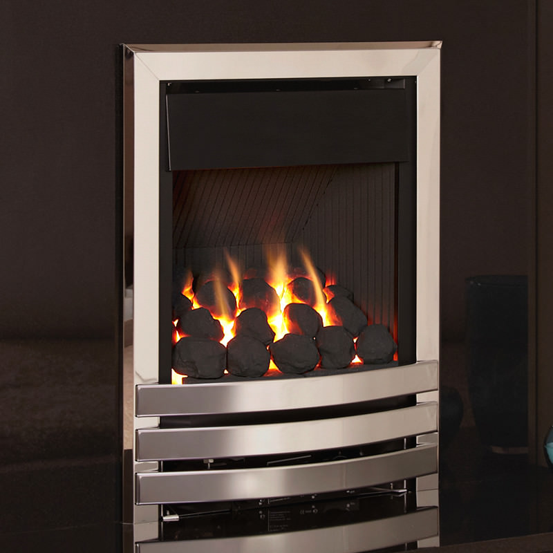 Flavel Linear plus full depth gas fire with chrome finish