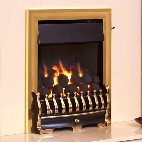 Flavel Richmond gas fire shown in brass