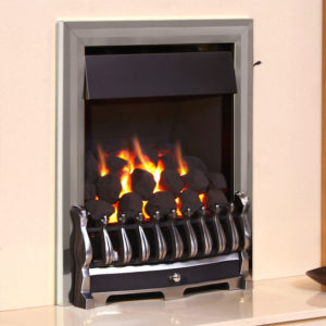 Flavel Richmond Plus inset gas fire with a coal fuel bed shown in a chrome finish