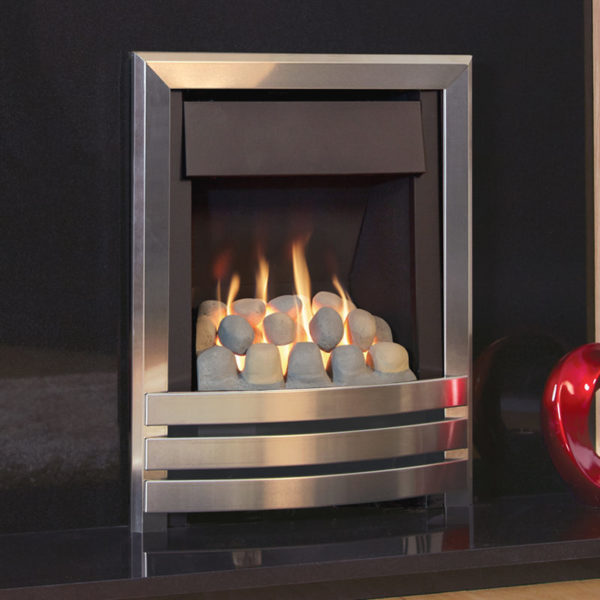 Flavel Windsor Contemporary Plus inset gas fire shown in chrome with a pebble fuel bed