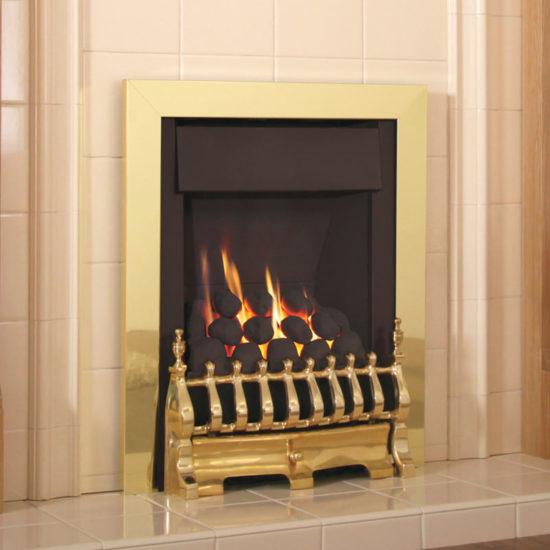 Flavel Windsor Traditional inset gas fire shown in brass