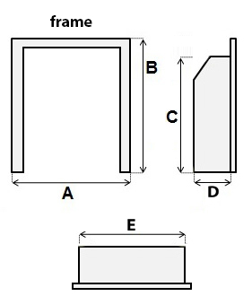 Gas fire diagram. A,B,C measurements