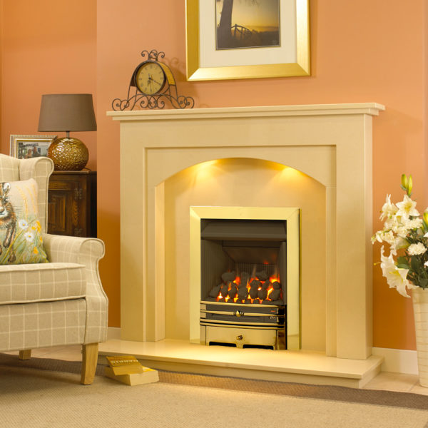 Gracio marble fireplace shown in a marfil stone marble and a full depth gas fire