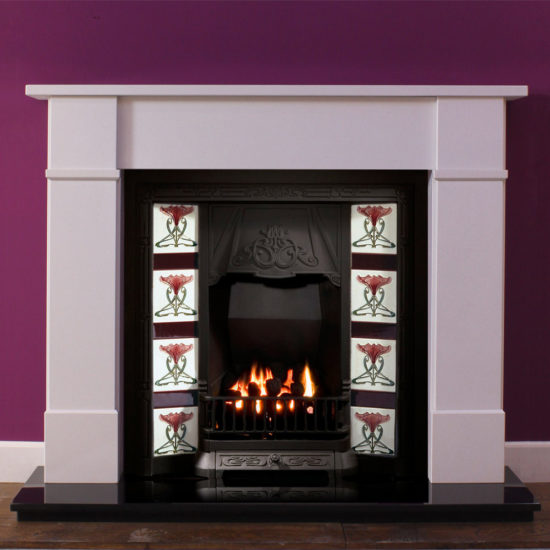 Henley marble fireplace shown in Spanish Blanco Micro marble with a cast iron tiled inset