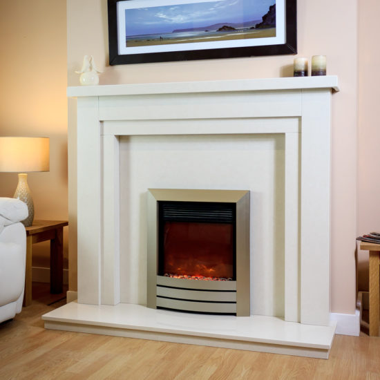 Huntingdon marble fireplace shown in a Polare marble with a Celsi XD camber electric fire