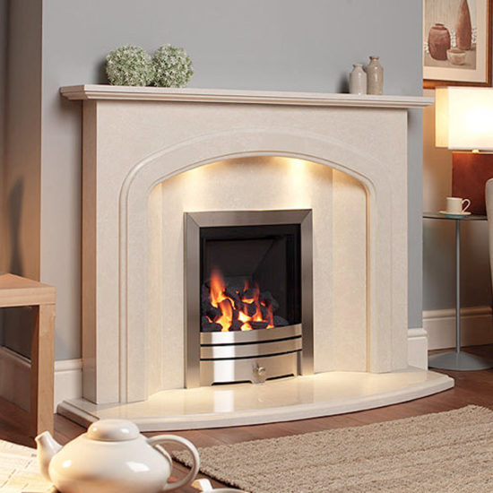 Liberino marble fireplace shown in a Nacarado marble with an inset full depth gas fire