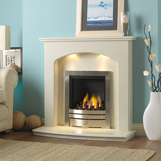 Inset full depth gas fire shown with the Lincoln marble fireplace