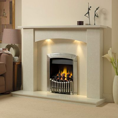 Milton marble fireplace shown in a Nacarado marble with an inset Flavel Contemporary full depth gas fire