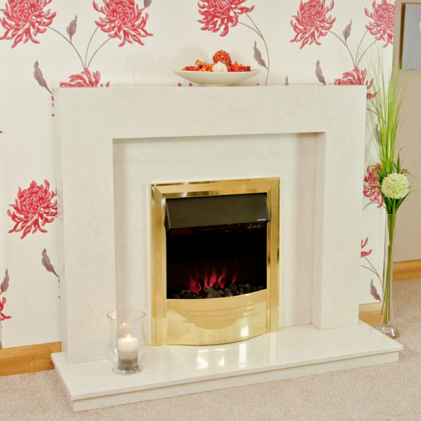 Modern marble fireplace shown in a Nacarado marble with a Celsi Accent infusion electric fire in brass