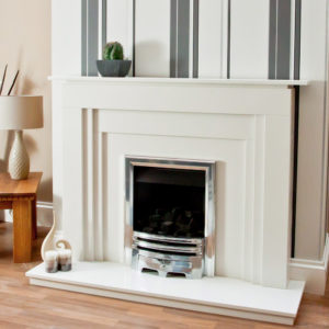 Romford Marble fireplace shown in Spanish Blanco Micro marble with an inset Pureglow Grace gas fire in chrome.