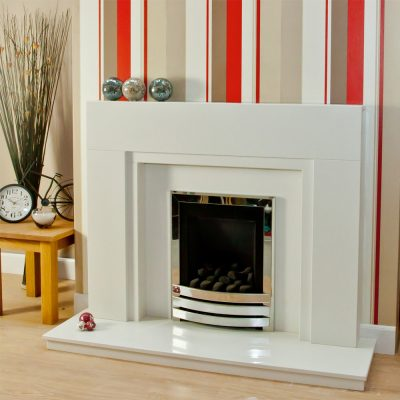 Stepped Modern marble fireplace shown in a Nacarado marble with an inset Flavel Linear full depth gas fire