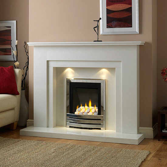 Walton marble fireplace in a Blanco Micro marble shown ith a Flavel Linear full depth gas fire