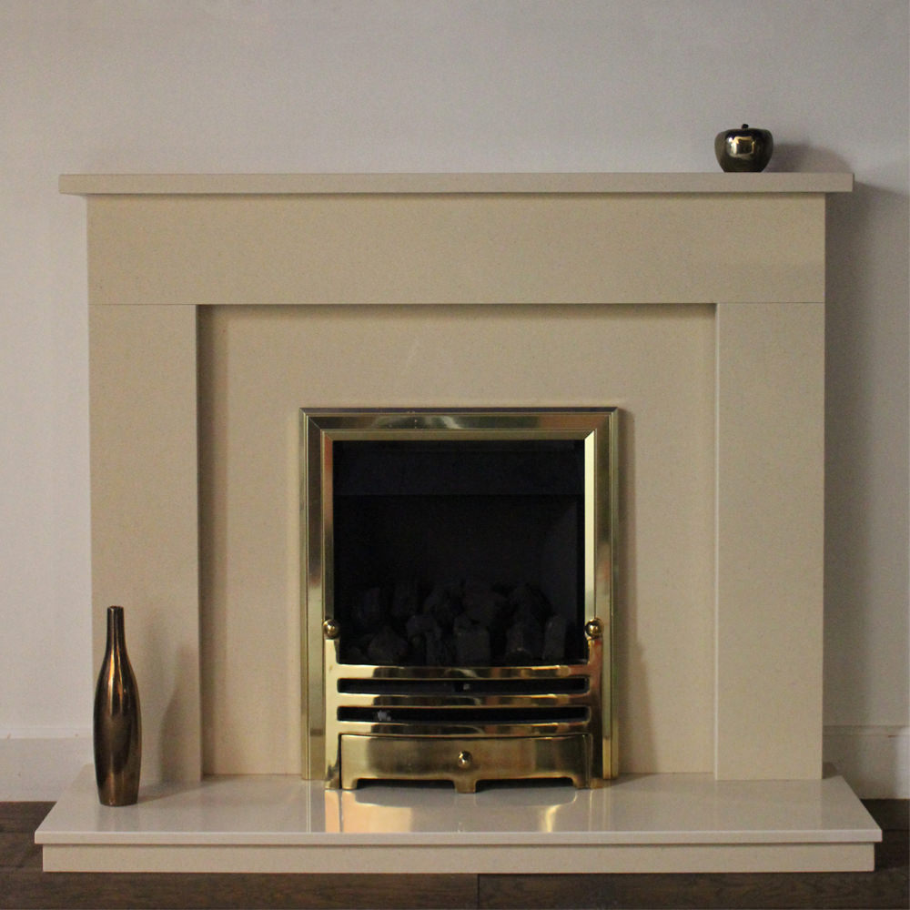 Wendle marble fireplace shown in a Marfil Stone marble with a full depth inset gas fire