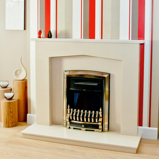 Westleigh marble fireplace shown in Marfil Stone marble and an inset electric fire