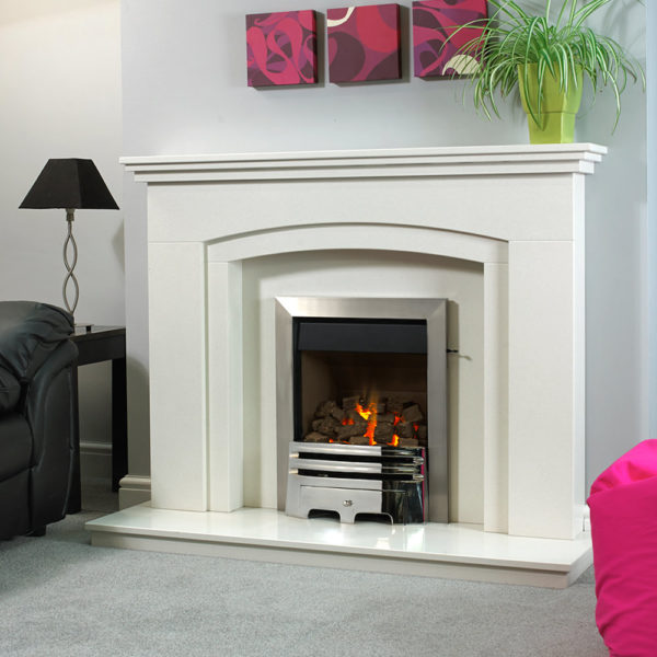 Winchester marble fireplace shown in Blanco Micro marble with a full depth Pureglow Grace inset gas fire